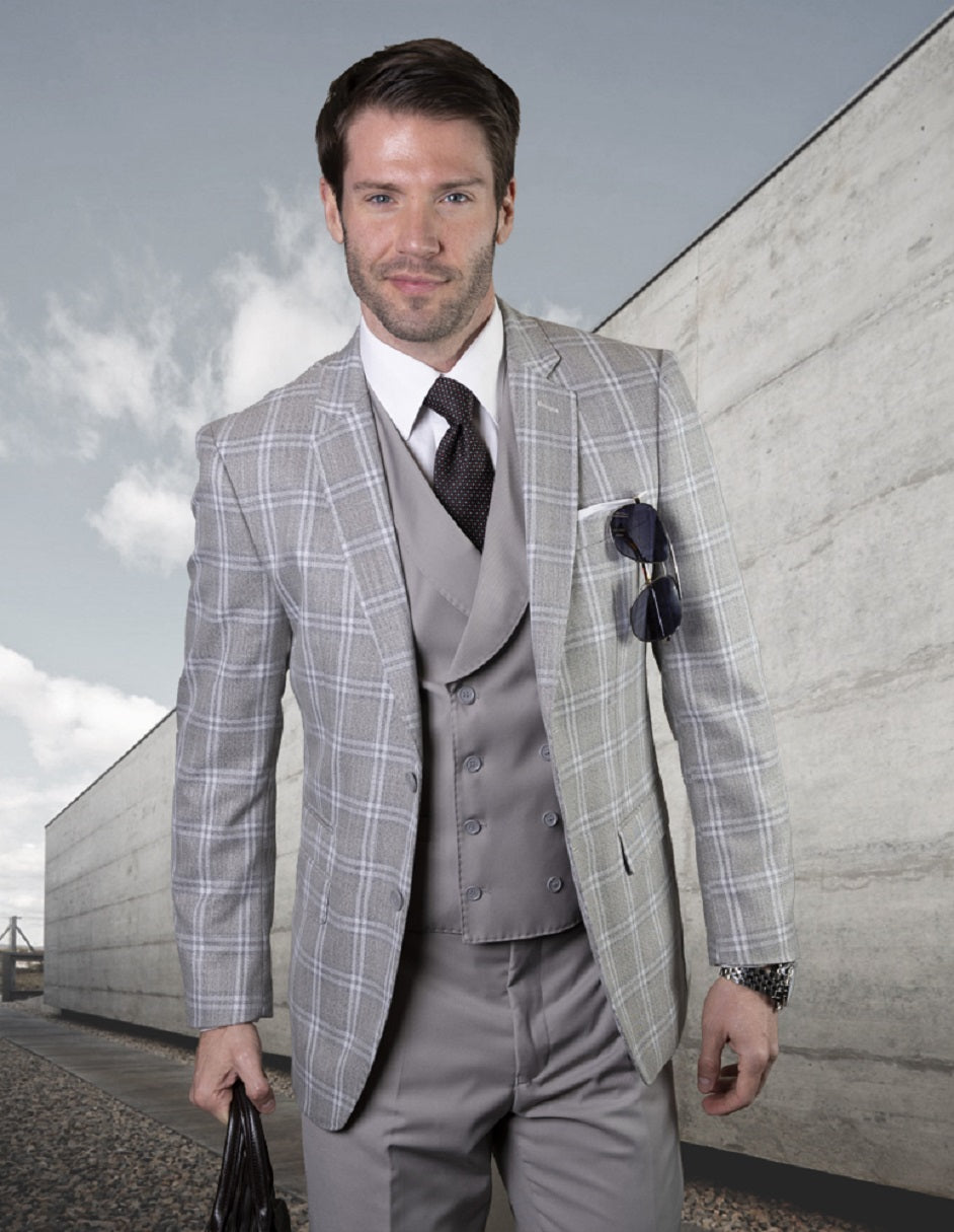 Mens Vested Classic Fit Double Breasted Vest Suit in Grey Plaid