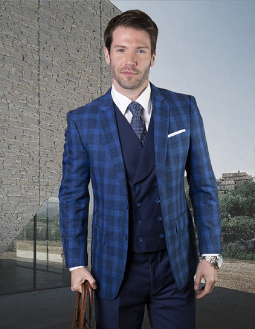 Mens Vested Classic Fit Double Breasted Vest Suit in Sapphire Plaid