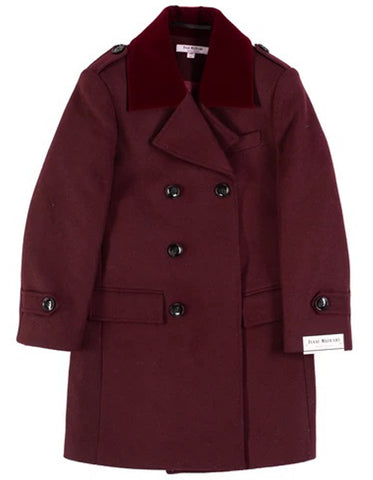 Little Boys and Toddlers Double Breasted Wool Peacoat in Burgundy