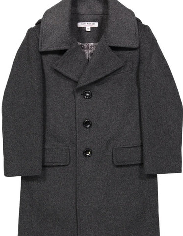 Little Boys and Toddlers Single Breasted Wool Peacoat in Black