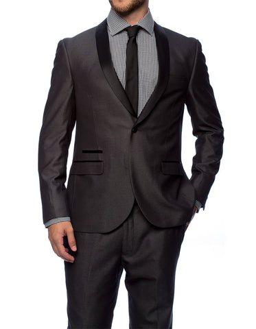 Mens Slim Fit 1 Button Shawl Lapel Tuxedo in Charcoal Grey