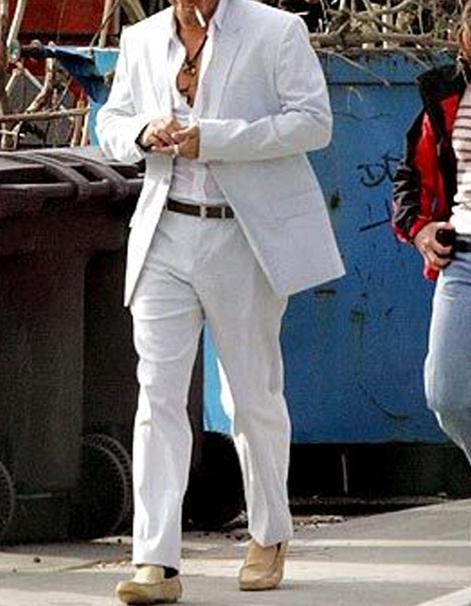 Mens Colin Farrell Miami Vice White Suit