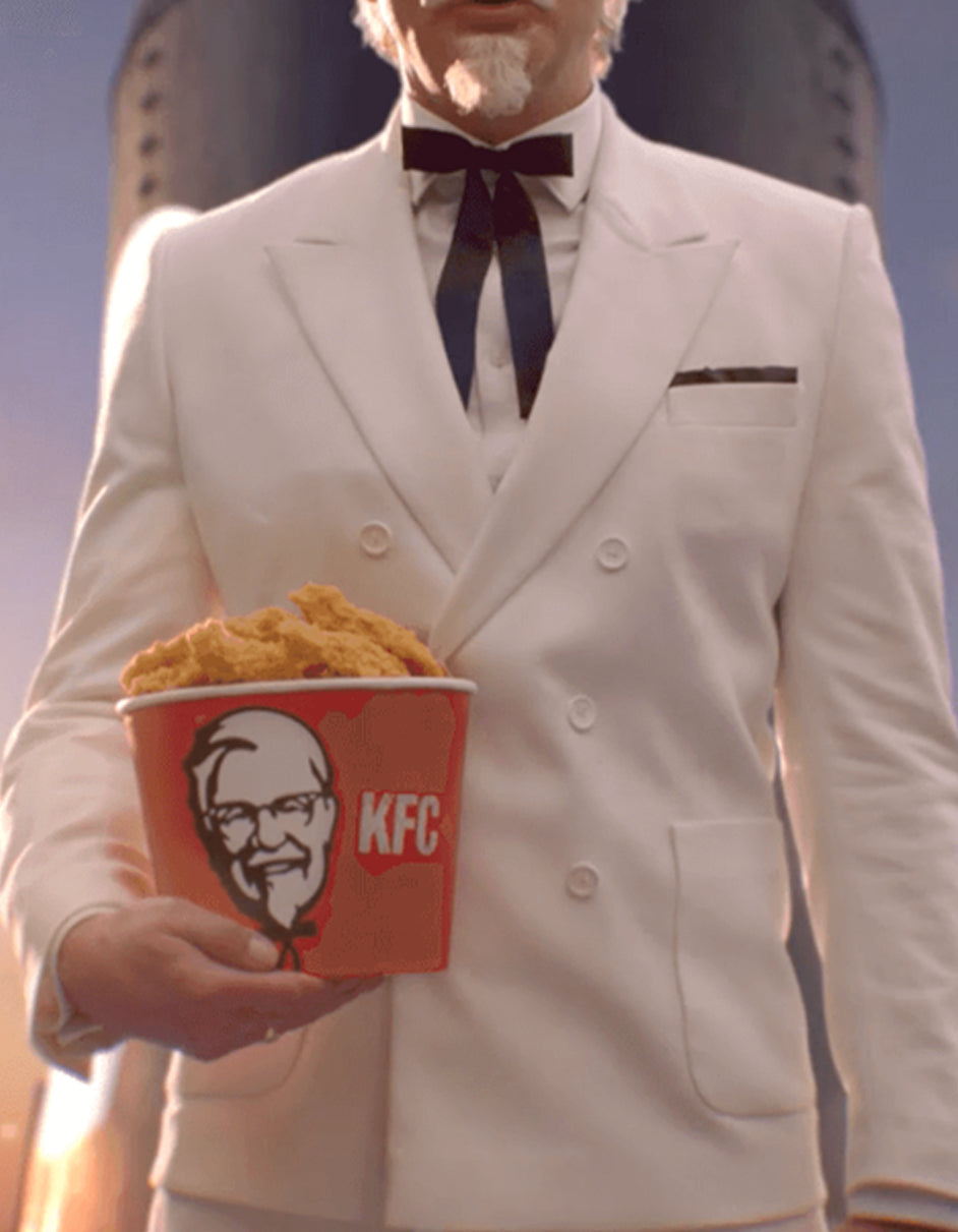 Mens Colonel Sanders KFC White Double Breasted Suit Costume