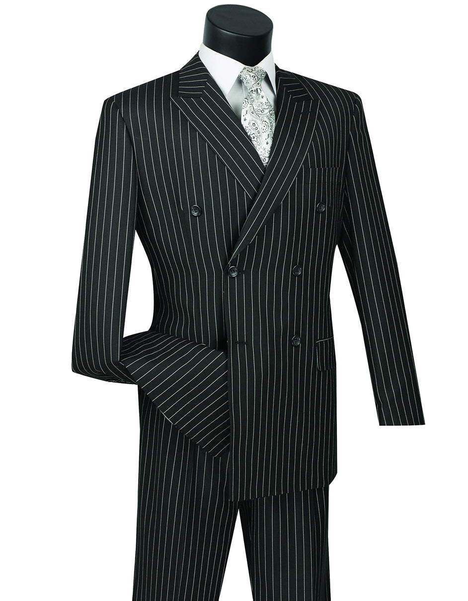 Mens Double Breasted Gangster Pinstripe Suit in Black