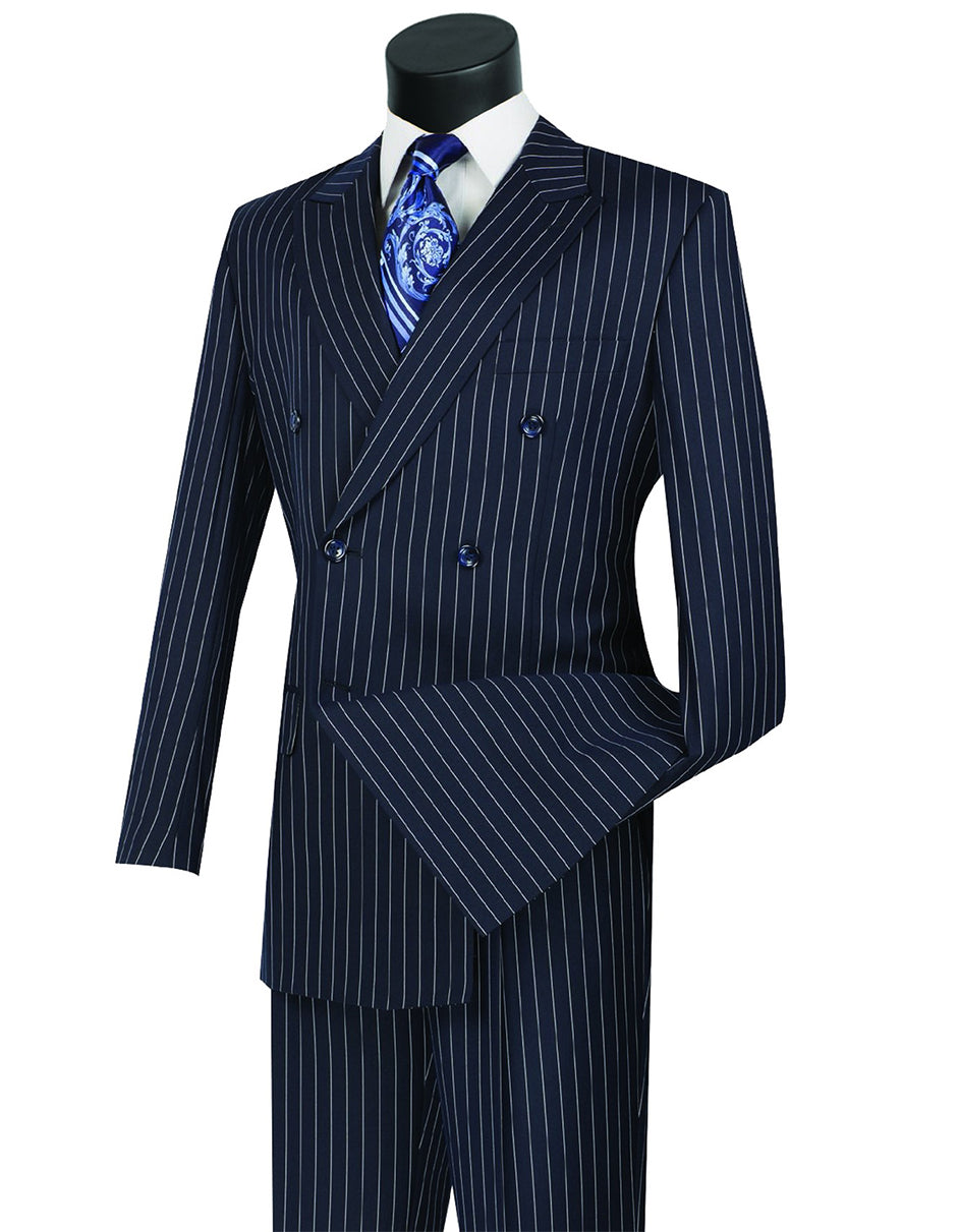 Mens Double Breasted Gangster Pinstripe Suit in Navy Blue