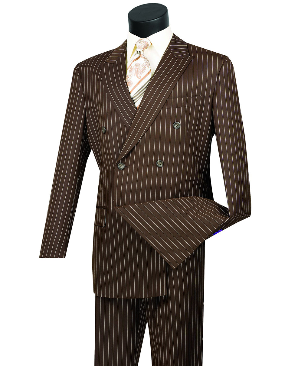 Mens Double Breasted Gangster Pinstripe Suit in Brown