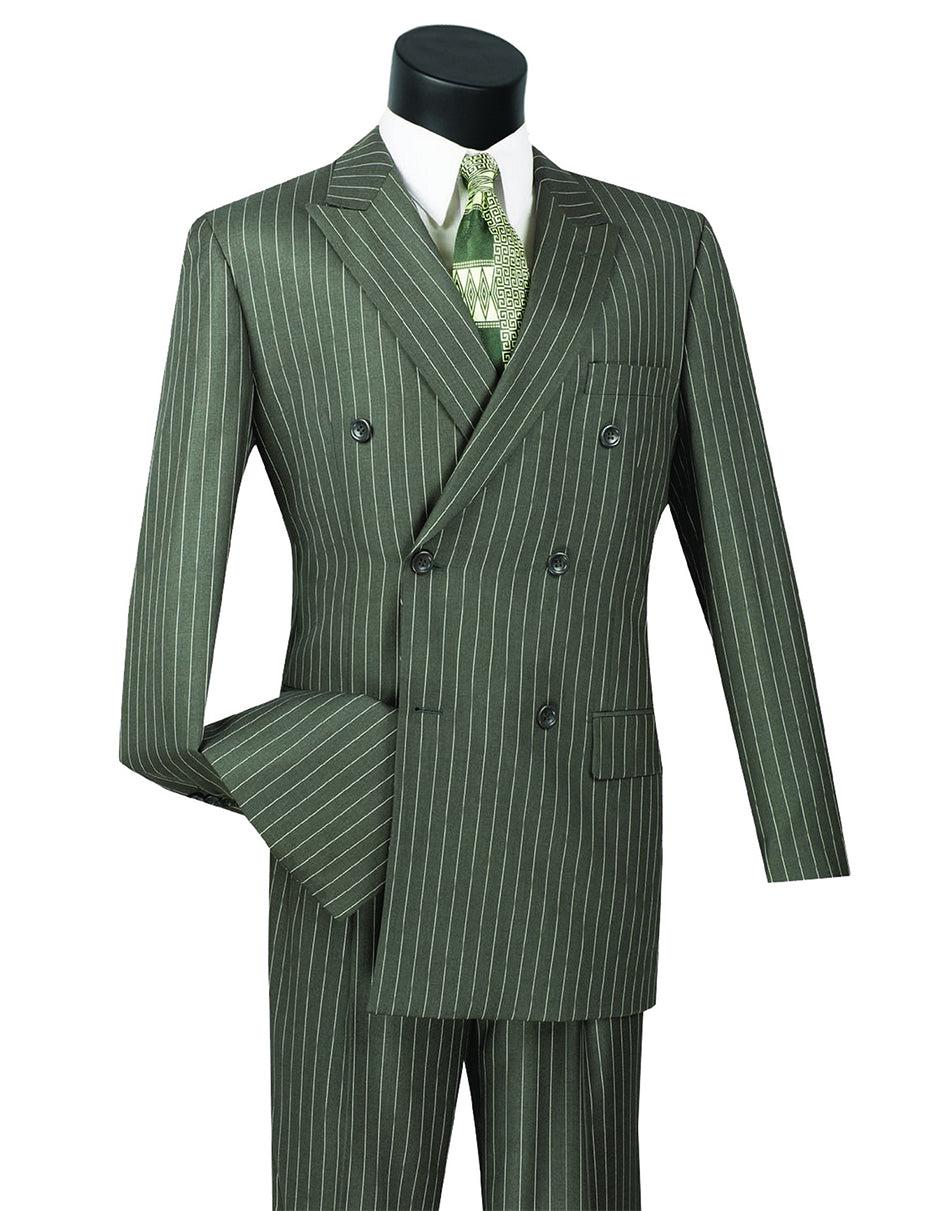 Mens Double Breasted Gangster Pinstripe Suit in Charcoal Grey