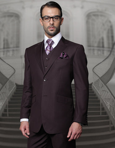 Mens 2 Button Modern Fit Vested Wool Suit in Eggplant
