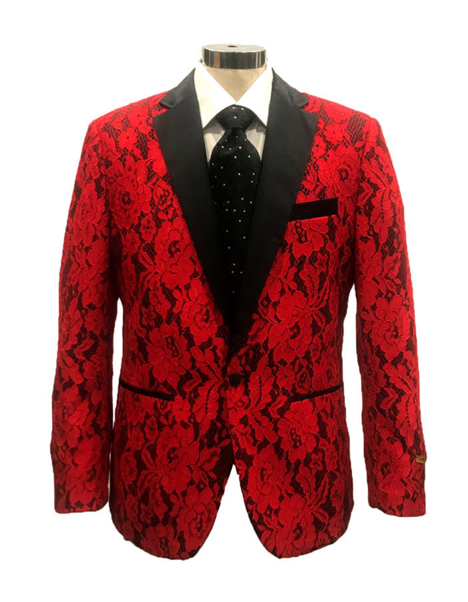 Mens Flower Pattern Lace Blazer in Red - Wedding - Prom