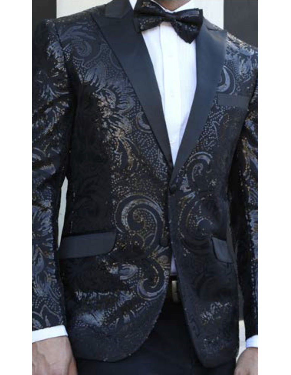 Mens Paisley Black & Black Sequin Blazer