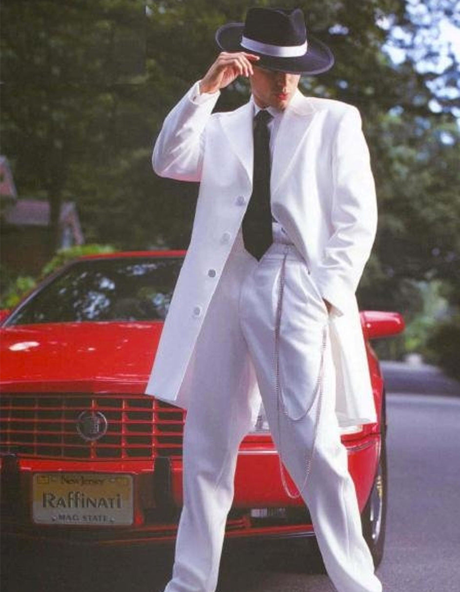 Mens White Gangster Zoot Suit Tuxedo Costume