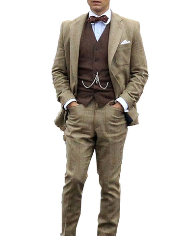 Mens Vested Great Gatsby | Leonardo Dicaprio Suit in Taupe