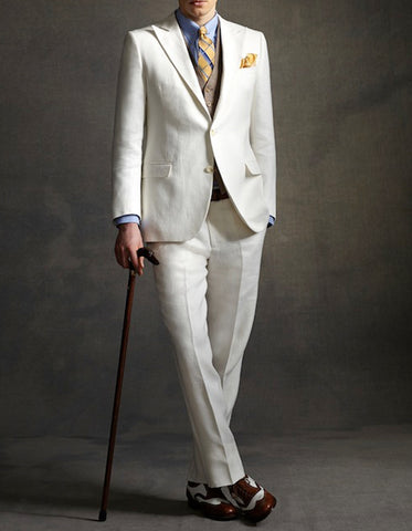 Mens The Great Gatsby Vested Peak Lapel Suit in Ivory with Brown Vest