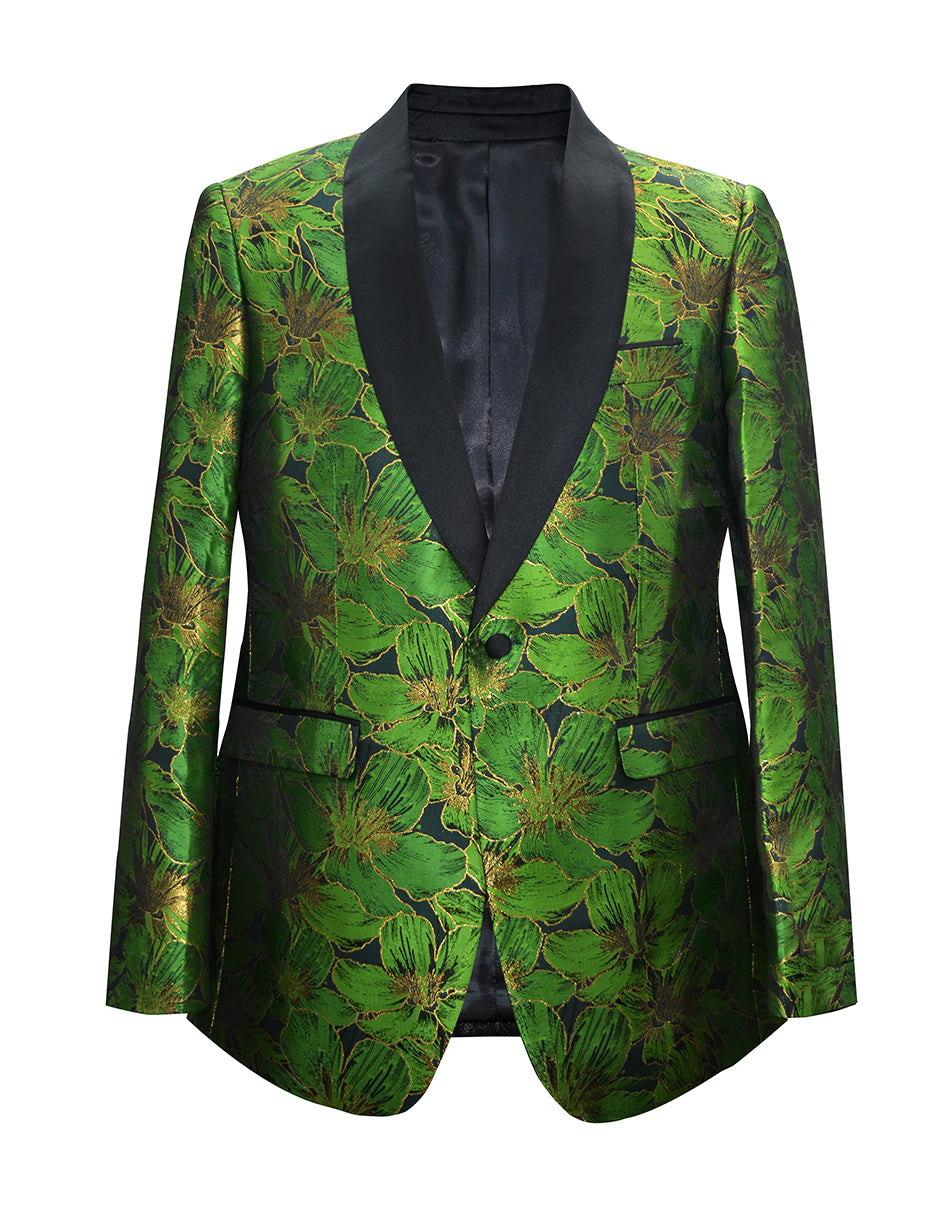 Mens Floral Shawl Tuxedo Jacket in Green & Black