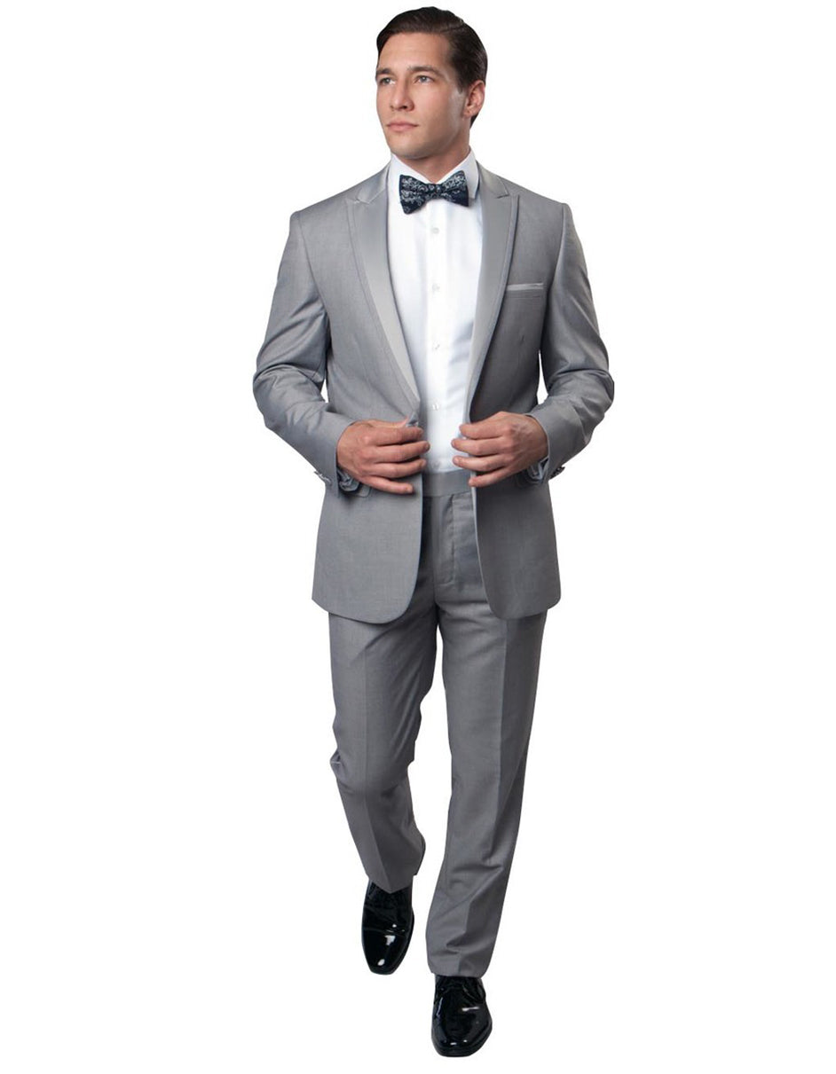 Mens Modern Wool Peak Trim Wedding Tuxedo in Grey