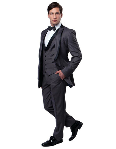 Mens Modern Wool Vested Peak Trim Prom Tuxedo in Charcoal Grey