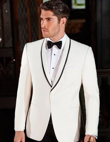 Mens Ike Behar Charles Shawl Dinner Jacket in Ivory with Black Trim