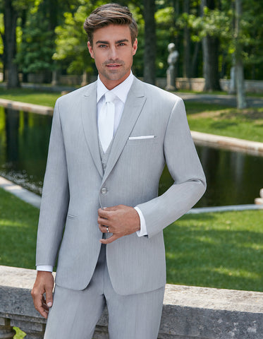Mens Ike Behar 2 Button Peak Lapel Grenada Tuxedo Suit in Light Grey