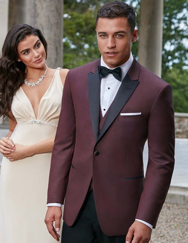 Mens Ike Behar Marbella One Button Peak Tuxedo in Burgundy