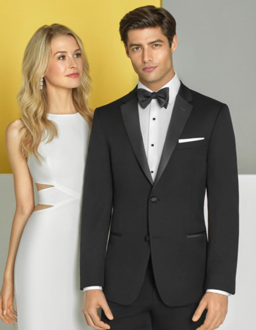 Mens Slim Fit Two Button Wedding Tuxedo Black