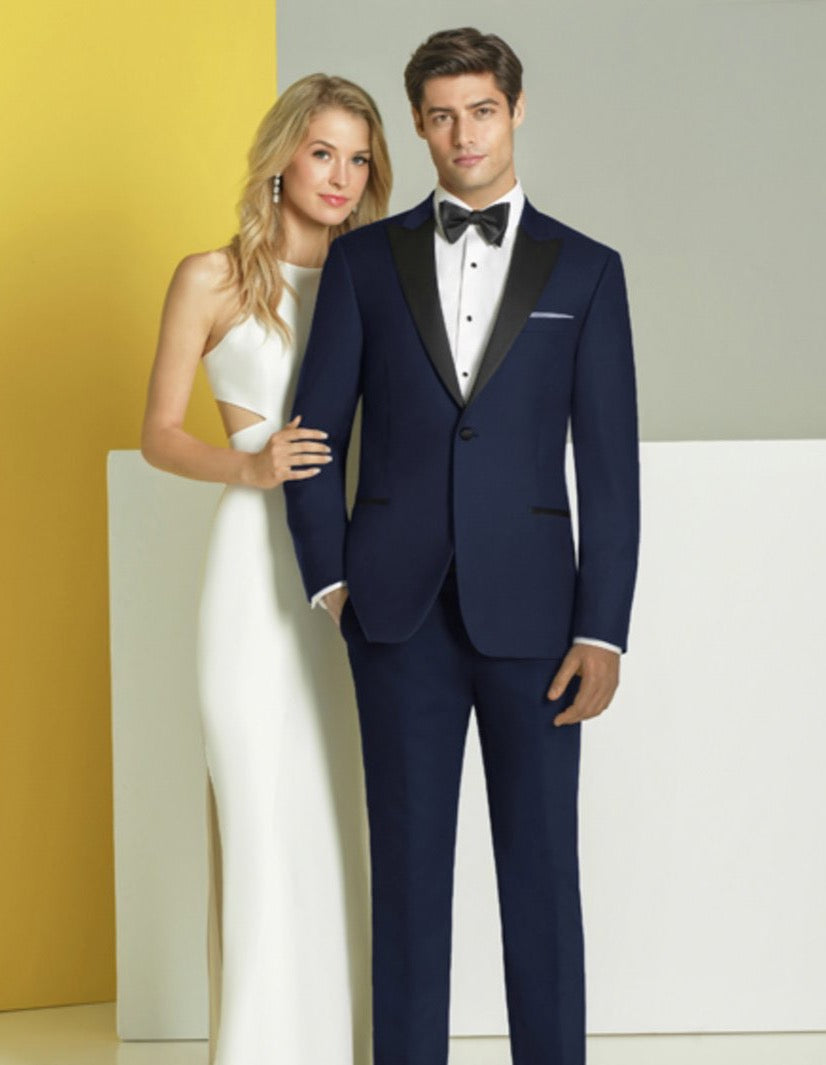 Mens Ike Behar Slim Fit One Button Peak Wedding Tuxedo in Navy