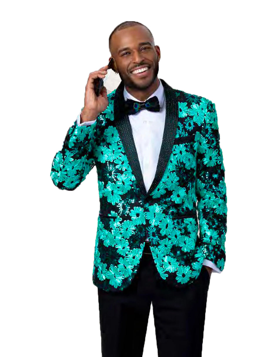 Mens Paisley Black & Green Sequin Blazer