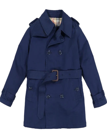 Little Boys and Toddlers Belted Double Breasted Trench Coat in Navy
