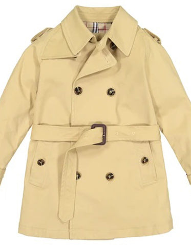 Little Boys and Toddlers Belted Double Breasted Trench Coat in Khaki