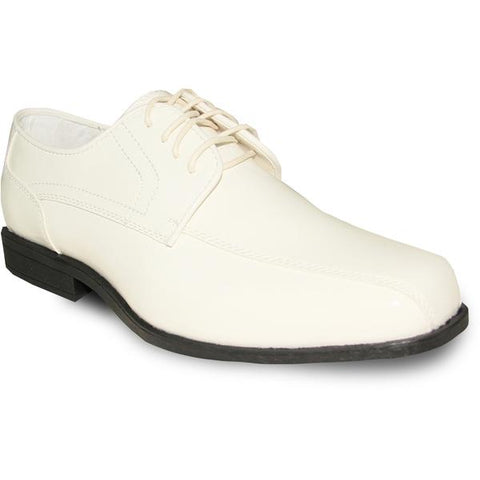 JEAN YVES Men Dress Shoe Oxford Formal Tuxedo for Prom & Wedding Shoe Ivory Patent - Wide Width Available