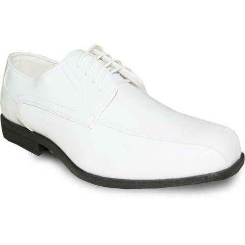 JEAN YVES Men Dress Shoe Oxford Formal Tuxedo for Prom & Wedding Shoe White Patent - Wide Width Available