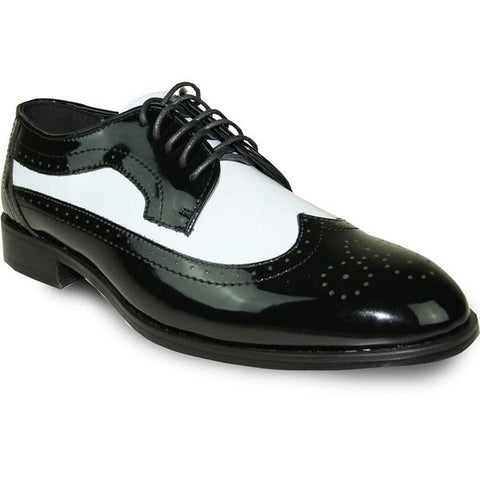 JEAN YVES Men Dress Shoe Wingtip Formal Tuxedo for Prom & Wedding Shoe Black/White Patent Two Tone