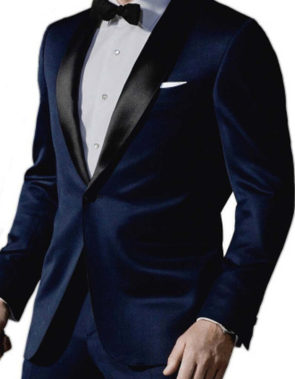 Mens 007 James Bond Navy Wool Tuxedo