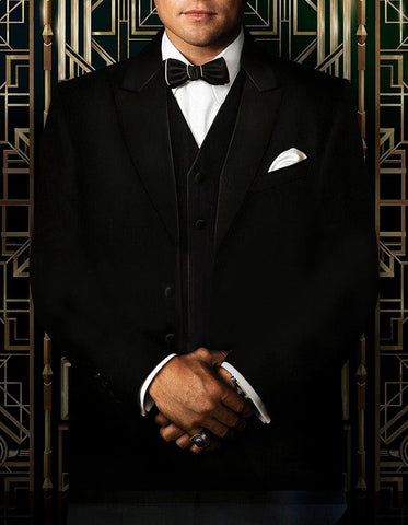 Mens Great Gatsby | Leonardo Dicaprio Vested Tuxedo in Black