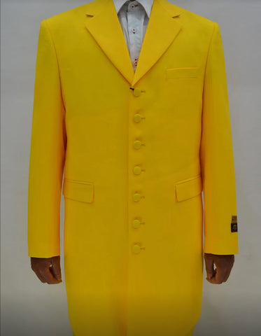 Mens Gangster Long Yellow Zoot Suit Costume
