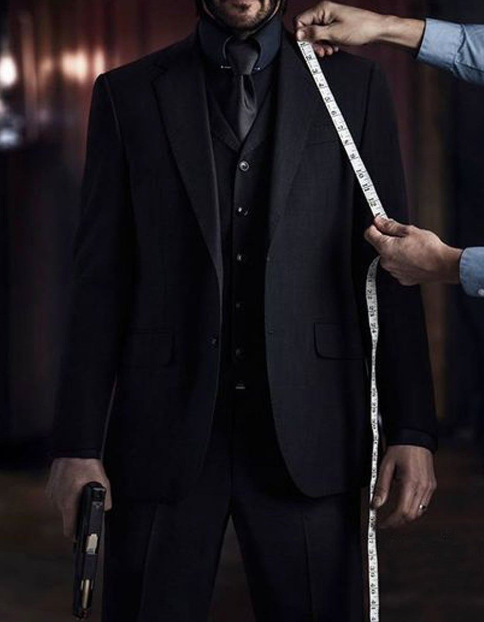 Mens John Wick Vested Black Suit Costume