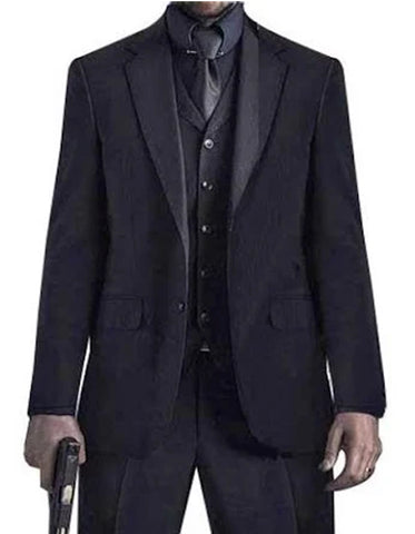 Mens John Wick Vested Black Suit Package + Shirt & Tie