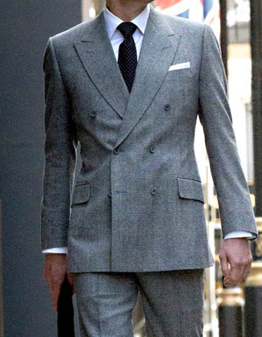 Mens Kingsman Double Breasted Grey Suit