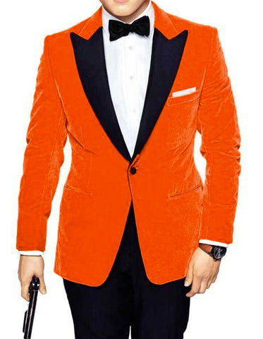 Mens Kingsman Orange Velvet Tuxedo Blazer