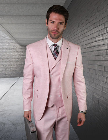 Mens 2 button Slim Fit Suit with Double Breasted Vest in Pink