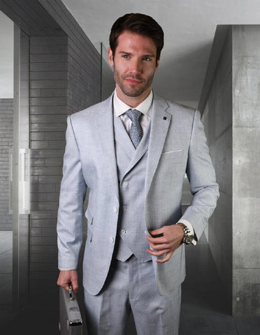 Mens 2 button Slim Fit Suit with Double Breasted Vest in Powder Blue