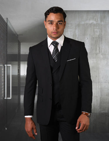 Mens 2 Button Slim Fit Wool Suit With Double Breasted Vest in Black