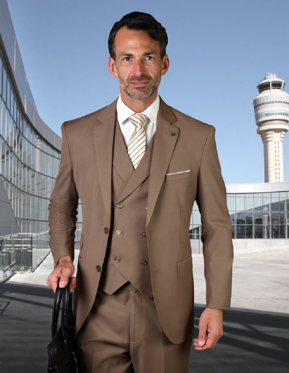 Mens 2 Button Slim Fit Wool Suit With Double Breasted Vest in Bronze