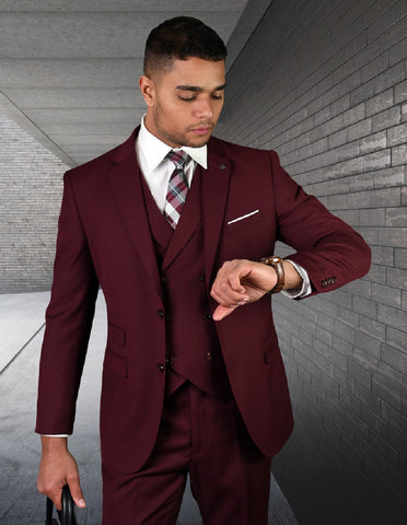 Mens 2 Button Slim Fit Wool Suit With Double Breasted Vest in Burgundy