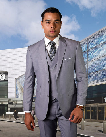 Mens 2 Button Slim Fit Wool Suit With Double Breasted Vest in Grey
