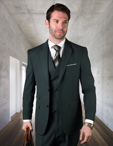 Mens 2 Button Slim Fit Wool Suit With Double Breasted Vest in Hunter Green