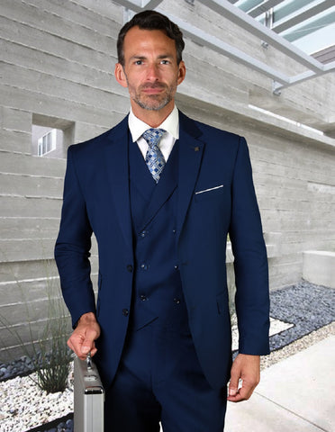 Mens 2 Button Slim Fit Wool Suit With Double Breasted Vest in Sapphire Blue