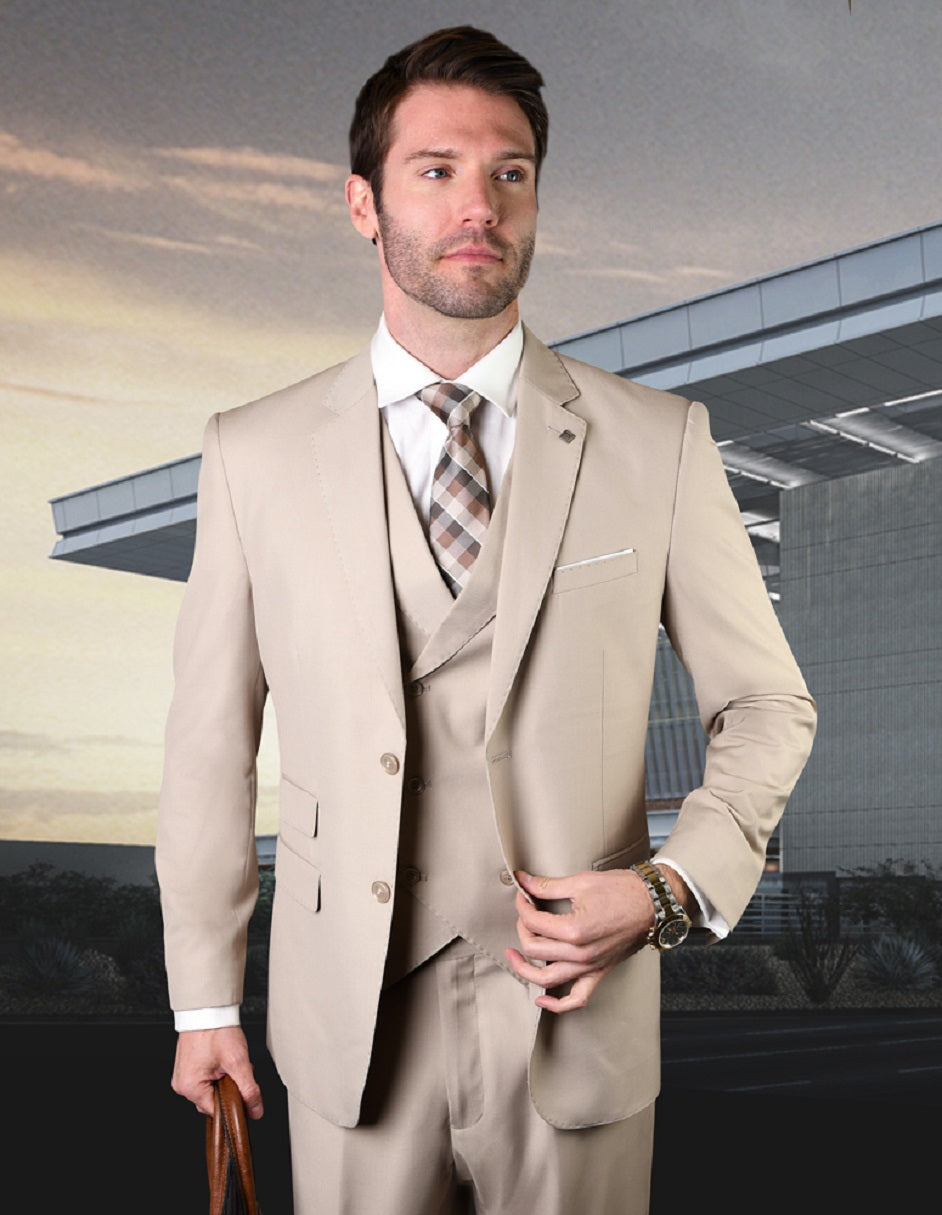 Mens 2 Button Slim Fit Wool Suit With Double Breasted Vest in Tan