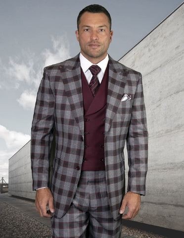 Mens 2 Button Peak Lapel Wool Suit with Double Breasted Vest in Burgundy Plaid