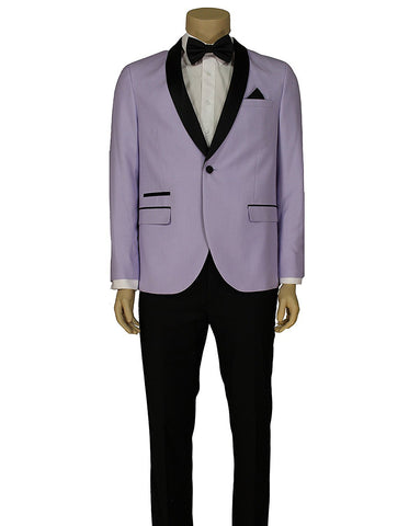 Mens Slim Fit 1 Button Shawl Lapel Prom Tuxedo in Lavender