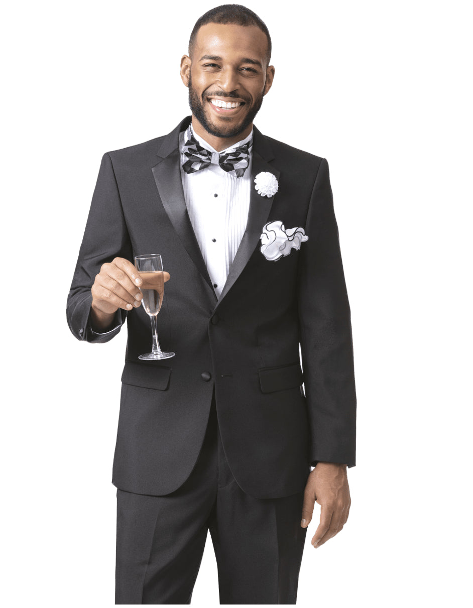 Mens Classic 2 Button Notch Lapel Tuxedo in Black